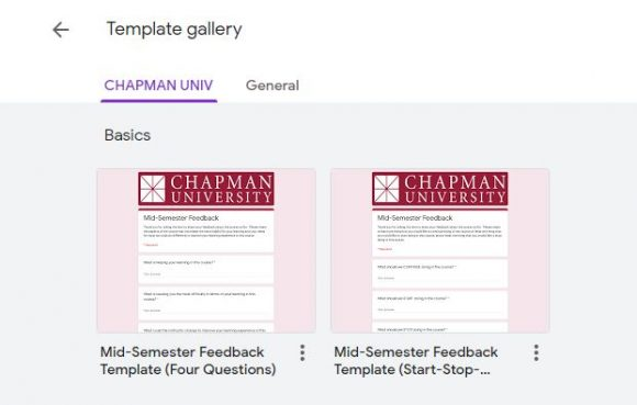 CHAPMAN UNIV template gallery in Google Forms