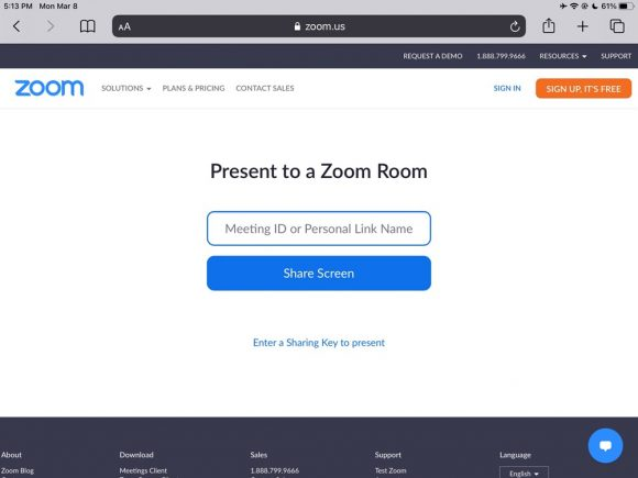 share.zoom.us meeting ID screen