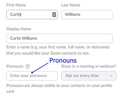 Pronoun field