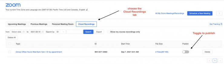 Publish recording in Zoom