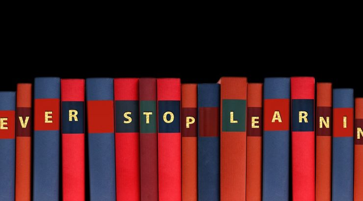 A library with books that say,
