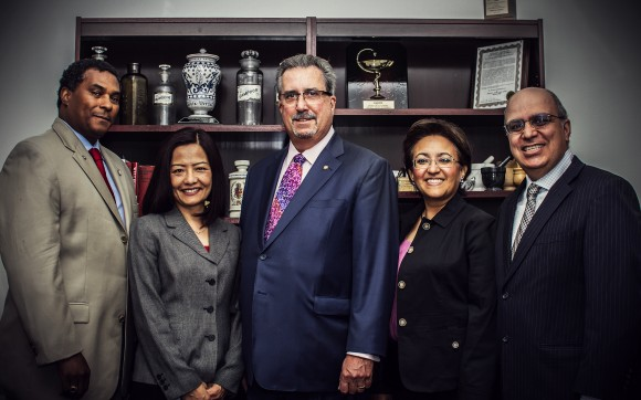 Founding faculty members for the Chapman University School of Pharmacy include, from left, Lawrence Brown, professor of pharmacoeconomics and health policy and associate dean of student and academic affairs; Siu-Fun Wong, professor of oncology and associate dean of assessment and scholarship; Ronald Jordan, dean; Nancy Alvarez, assistant dean for experiential education and continuing professional development; and Keykavous Parang, professor and associate dean of research, graduate studies and global affairs.