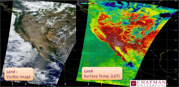 Satellite images are captured several times daily by Chapman's XB Band Direct Broadcast antenna, right. With good pre-fire data, scientists can create a terrain map that shows where the hazard is greatest.