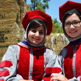 "Afghan lawyers Munira Akhunzada, left, and Shamsi Maqsoudi impressed Chapman students and faculty alike. ""It's been an honor to work with them,"" Professor Ron Steiner said."