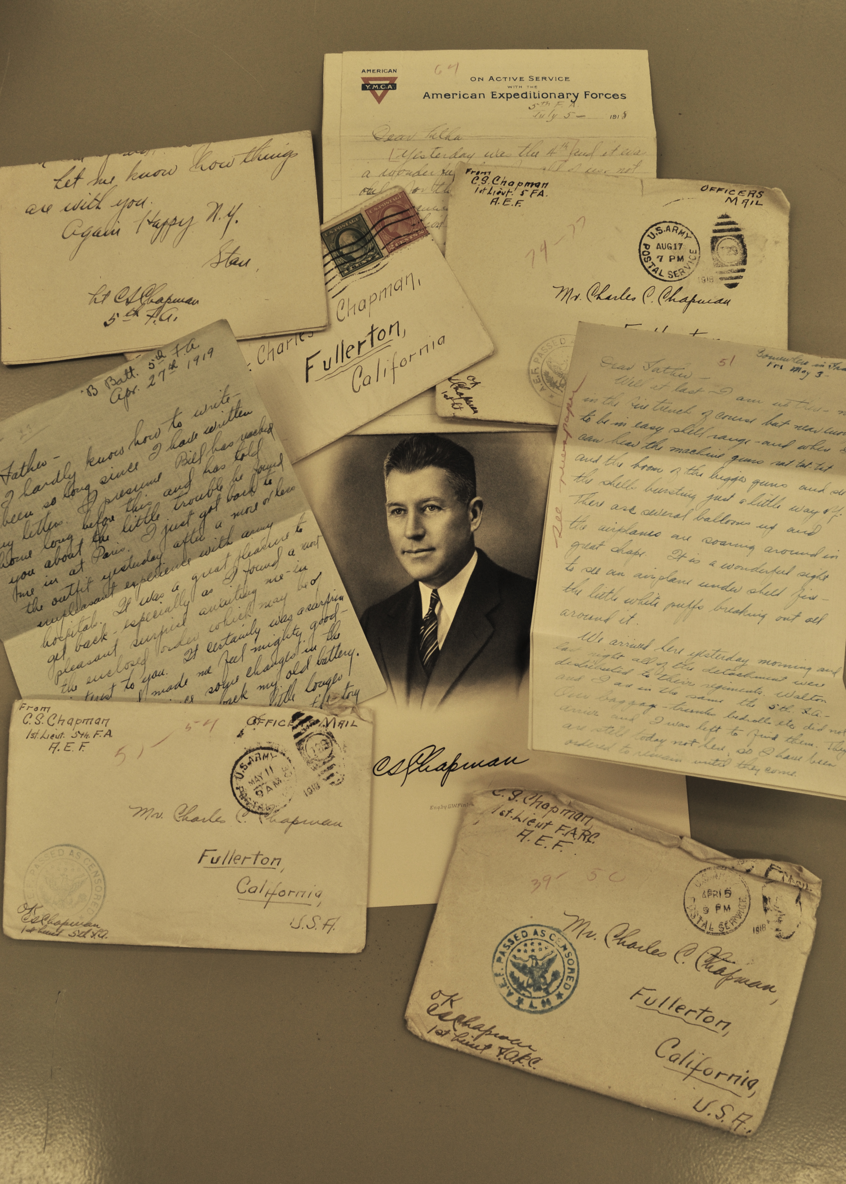 The Frank Mt. Pleasant Library of Special Collections at Chapman includes the World War I letters of Capt. C. Stanley Chapman, the son of university namesake Charles C. Chapman. Capt. Chapman fought in every major battle involving U.S. forces.