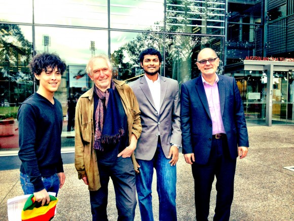 <i>From left:</i>Zach, Peter Weir, Yashwanth & Producer Stephan Wellink