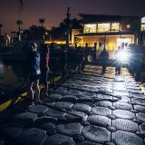 Bright light, dark, dock