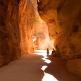 A narrow gorge called The Siq that is the main entrance to the ancient city of Petra in southern Jordan.