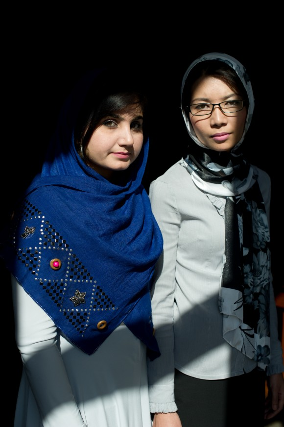 """""""This is the time for Afghans to try to solve problems, not to run away from them,"""" says Shamsi Maqsoudi, right, with Munira Akhundzada."""