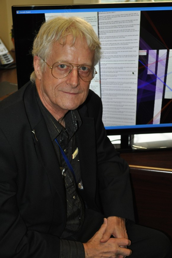 In his Chapman University office, Ted Nelson displays Project Xanadu, which has evolved considerably since its founding in 1960 but still reflects his vision for linking information and ideas.