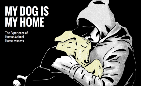 drawing of a man hugging a dog