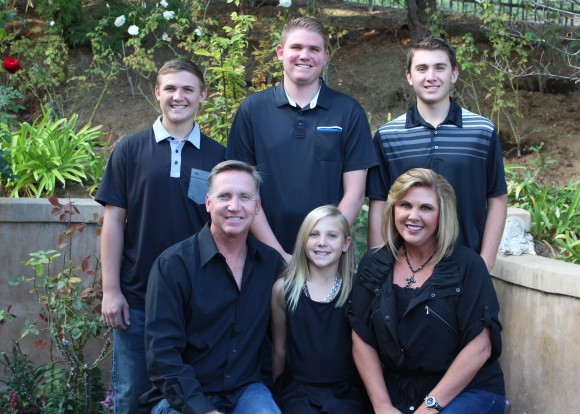 Erin Lastinger '88 with her husband, Gary, and their children, clockwise from left, Parker, Austin, Brady and Morgan.