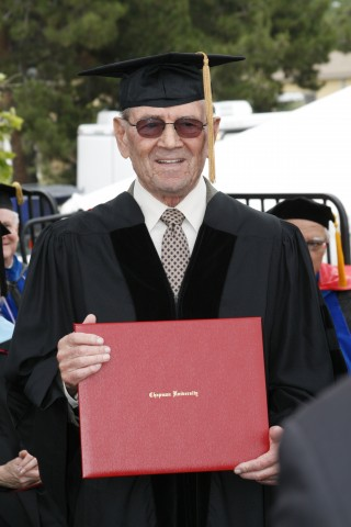 Leon Leyson receiving honorary degree at Chapman University