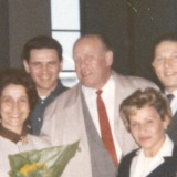 """Oskar Schindler at LAX with survivors from the """"list"""""""