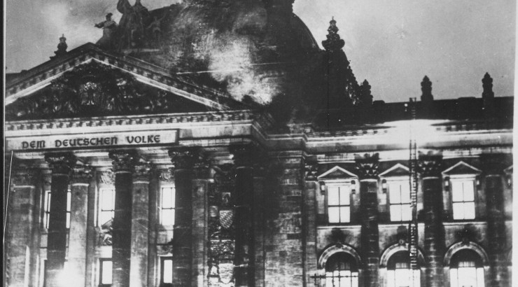 Reichstag Building on fire