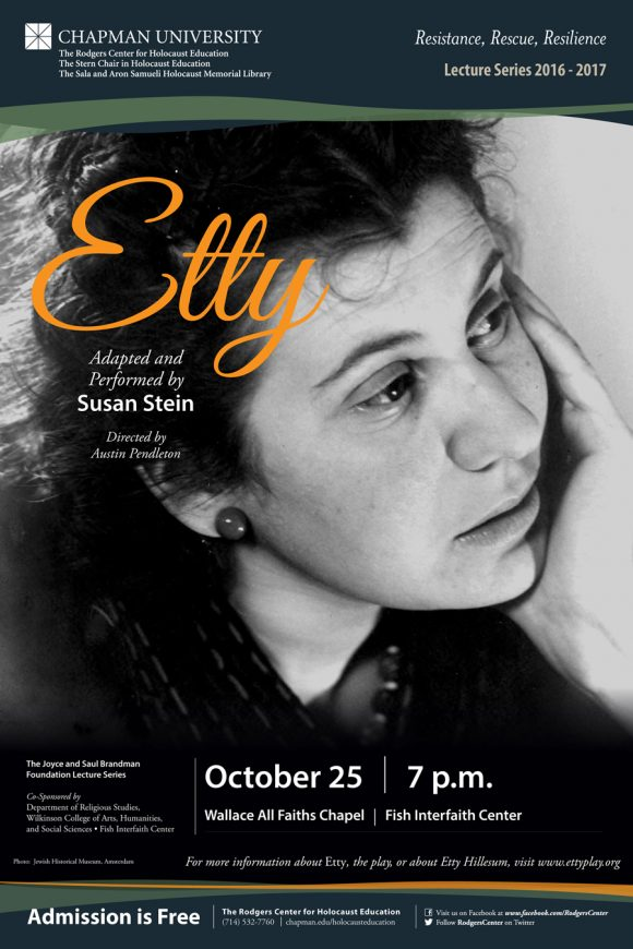 "Poster with the name ""Etty"" in stylized script and a photo of Etty Hillesum looking pensively to the side"