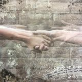 Two hands clasping with a faded image of the hands being pulled away from each other; barbed wire Stars of David are highlighted in the bottom left corner.