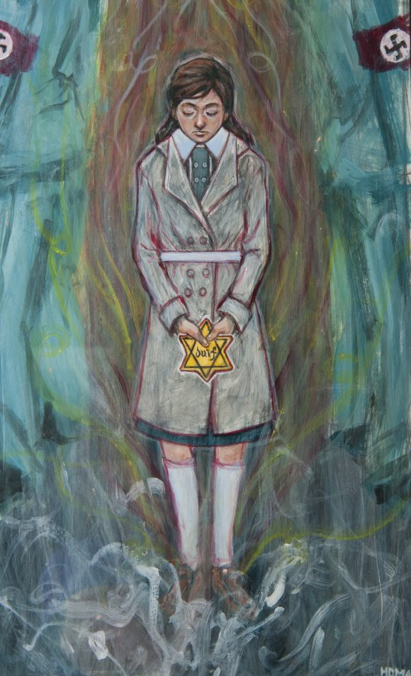 Painting of a girl holding the a Star of David patch, like those the Jews had to wear in Europe during WW II