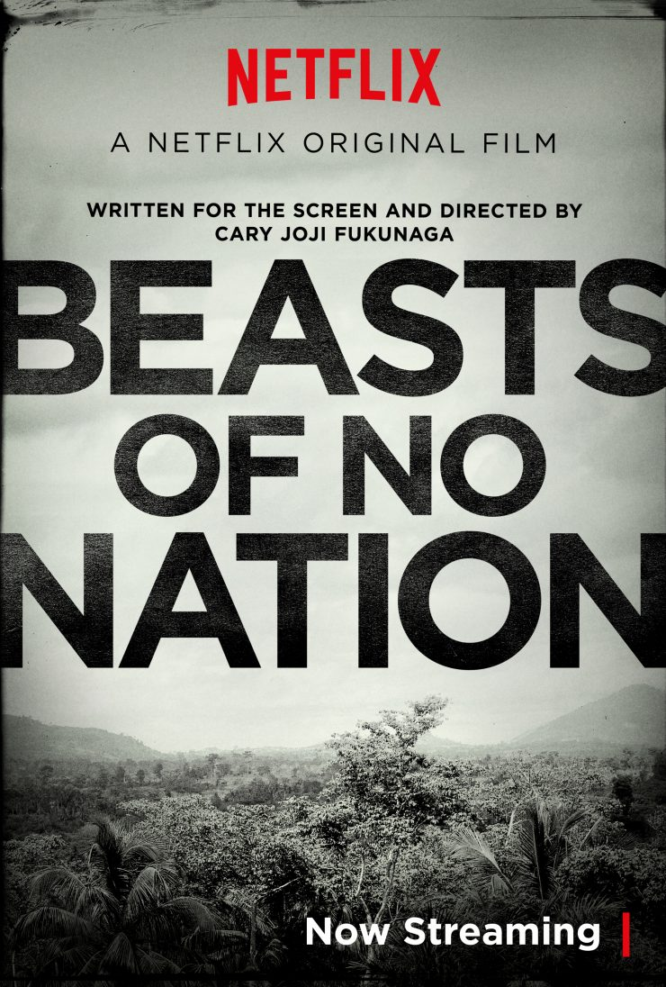Movie poster with large letters spelling Beasts of No Nation and an African landscape background