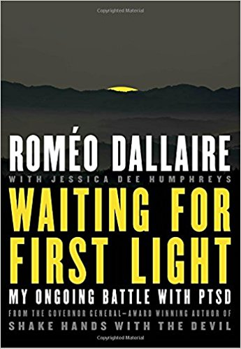 "Cover for Romeo Dallaire's book ""Waiting for First light"" with a dark landscape with a sun setting behind a range of hills"