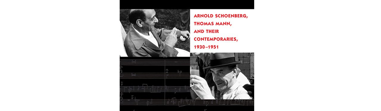 Portion of Schoenberg's book with photos of Mann and Schoenberg