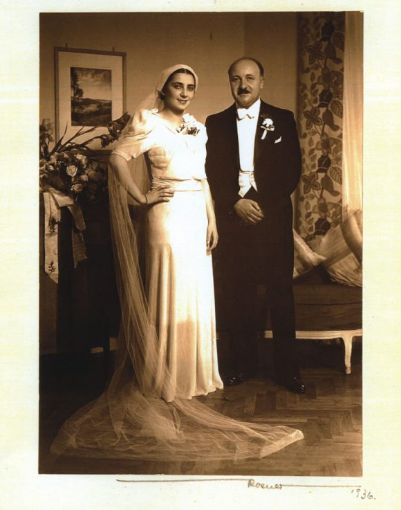 wedding photo, Felicia Haberfeld in a white dress and Alfons in a tuxedo