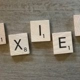 Scrabble Tiles that spell the word, anxiety