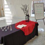 Vigil table in the Fish Interfaith Center