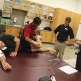 Students in Chapman's Doctor of Physical Therapy program work on performing rehabilitation exercises. (Chapman University)