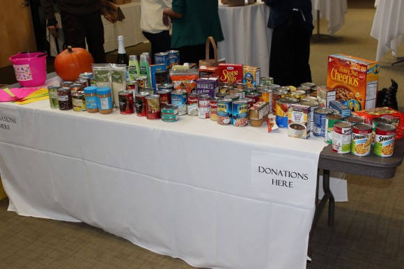 Table with lots of donated foods.