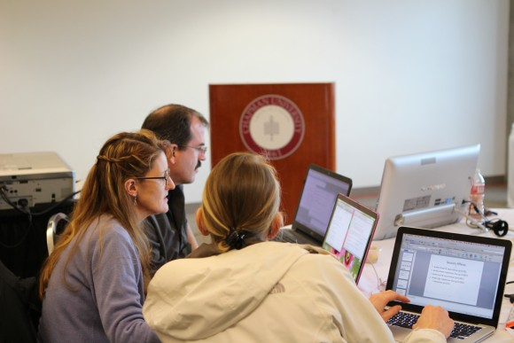 Students and faculty on their computers