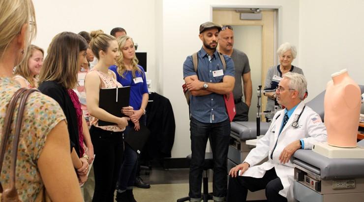 Chapman professor's lead a tour for Graduate school information.