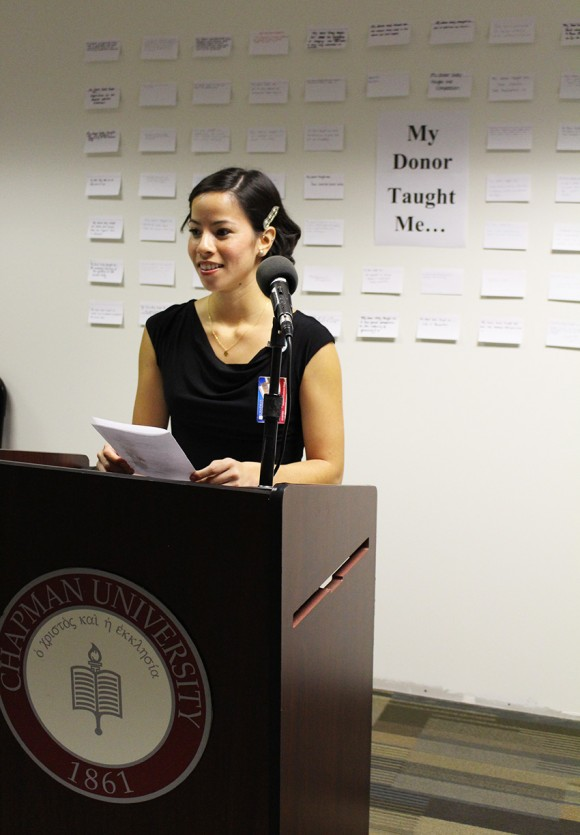 Student speaking at Donor Memorial Ceremony