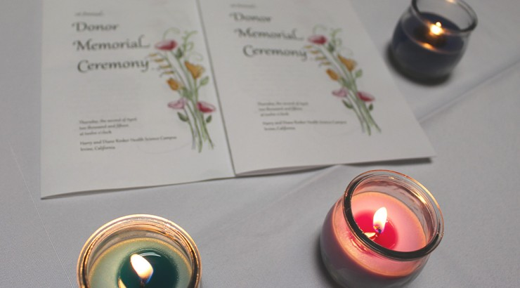 Donor Memorial Ceremony flyers and candles
