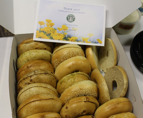 Bagels donated by Starbucks