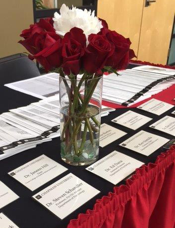 Table of flowers and name tags