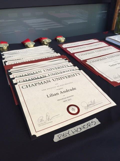 Senior Honors Award Certificates