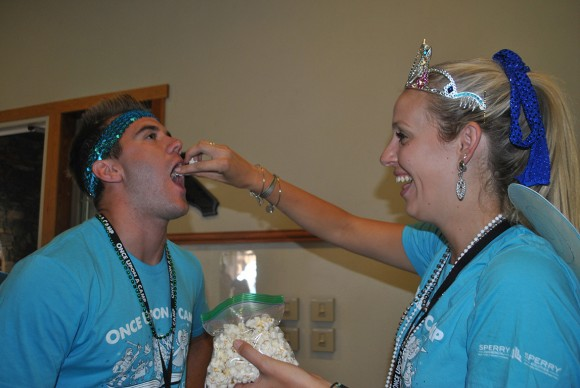 Rise Above Disabilities (RAD) Camp attendees have fun with popcorn.