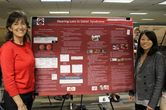 Students presenting about Hearing Loss in Usher Syndrome at Rinker Grad Student Research Day