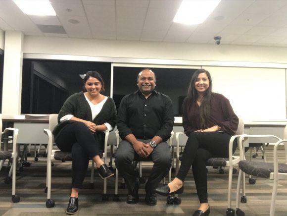 Margaret Guzman '20 and Alexandra Anguiano '20 with MFT Chair, Dr. Naveen Jonathan