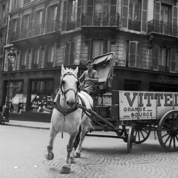 man riding a horse cart
