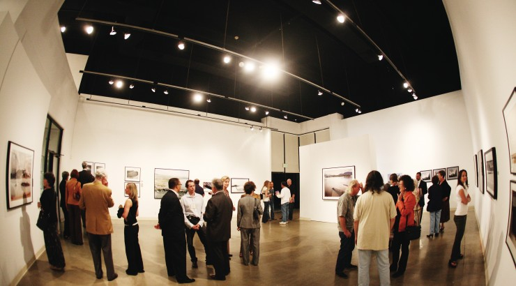 fish eye view of an art gallery