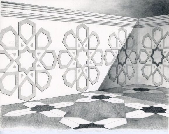 Jorge Benitez, Courtyard, graphite on arches paper, 2013