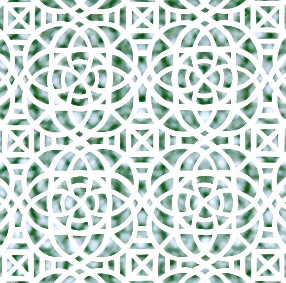 """Reni Gower, Papercuts: White/malachite, Acyrlic on hand cut paper 86½"""" x 56¼"""", 2014"""