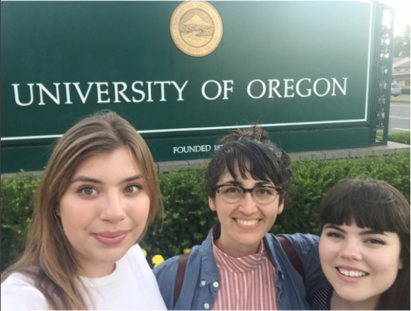 Manon Wogahn, Natalie Lawler, and Jessica Bocinski at the University of Oregon.