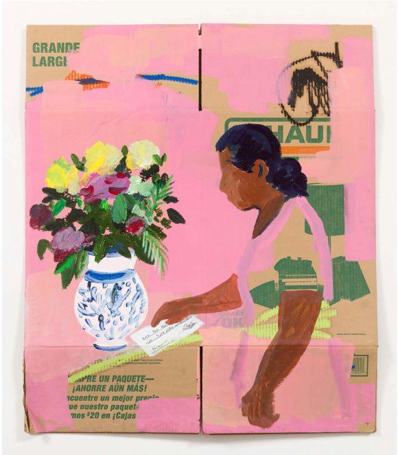 Image of cardboard painting by artist, Ramiro Gomez.