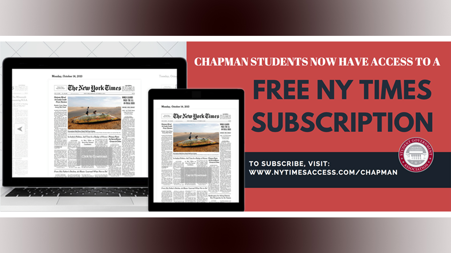 Nytimes Com For Chapman Students Chapman University Students Now Have Access To A Free Subscription Information Systems Technology