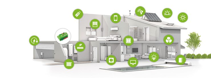 2 story home with green circles indicating network devices.