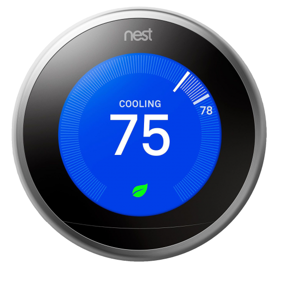 Nest Thermostat set to 75 degrees Cooling