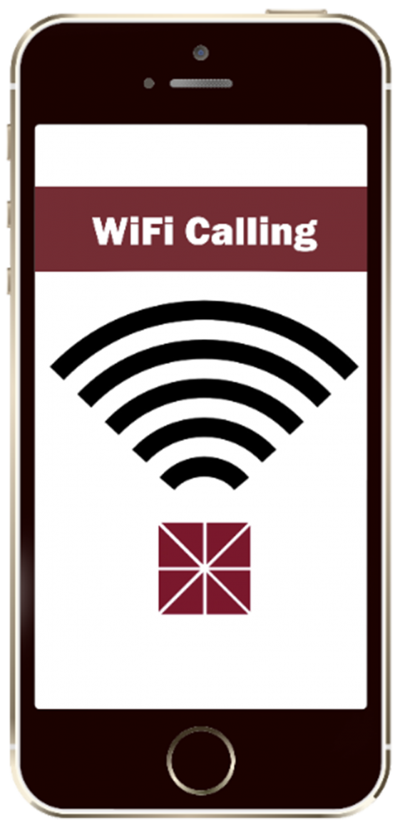 Black Smart Phone with Red and White Wifi calling banner and signal lines.